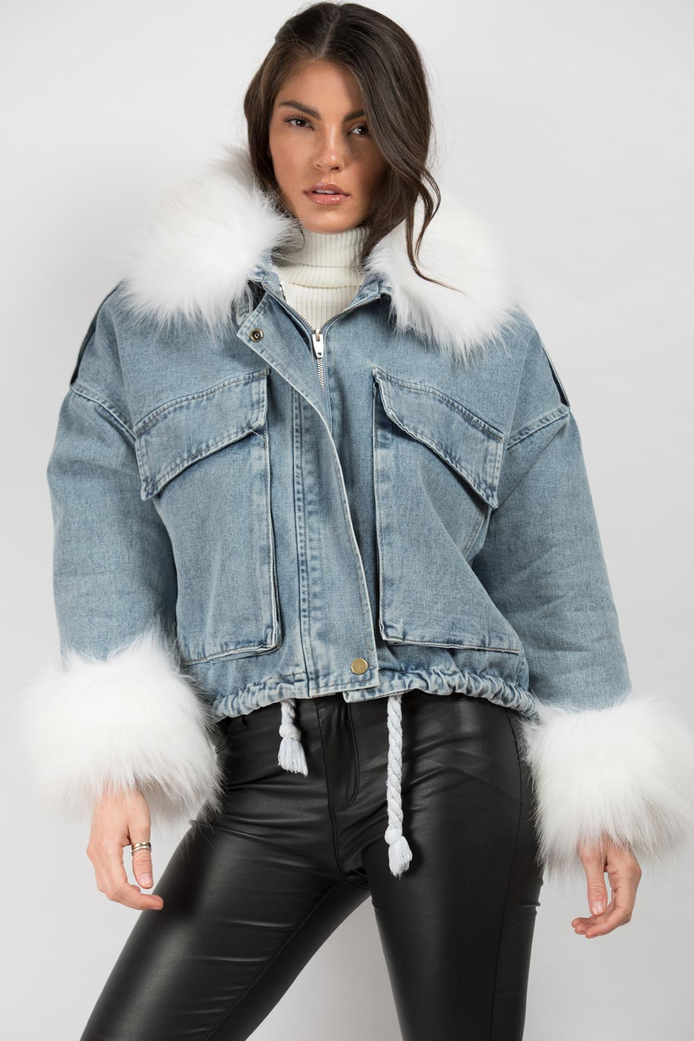 blue denim jacket with white faux fur collar uk