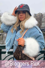 blue denim oversized fur lined jacket womens
