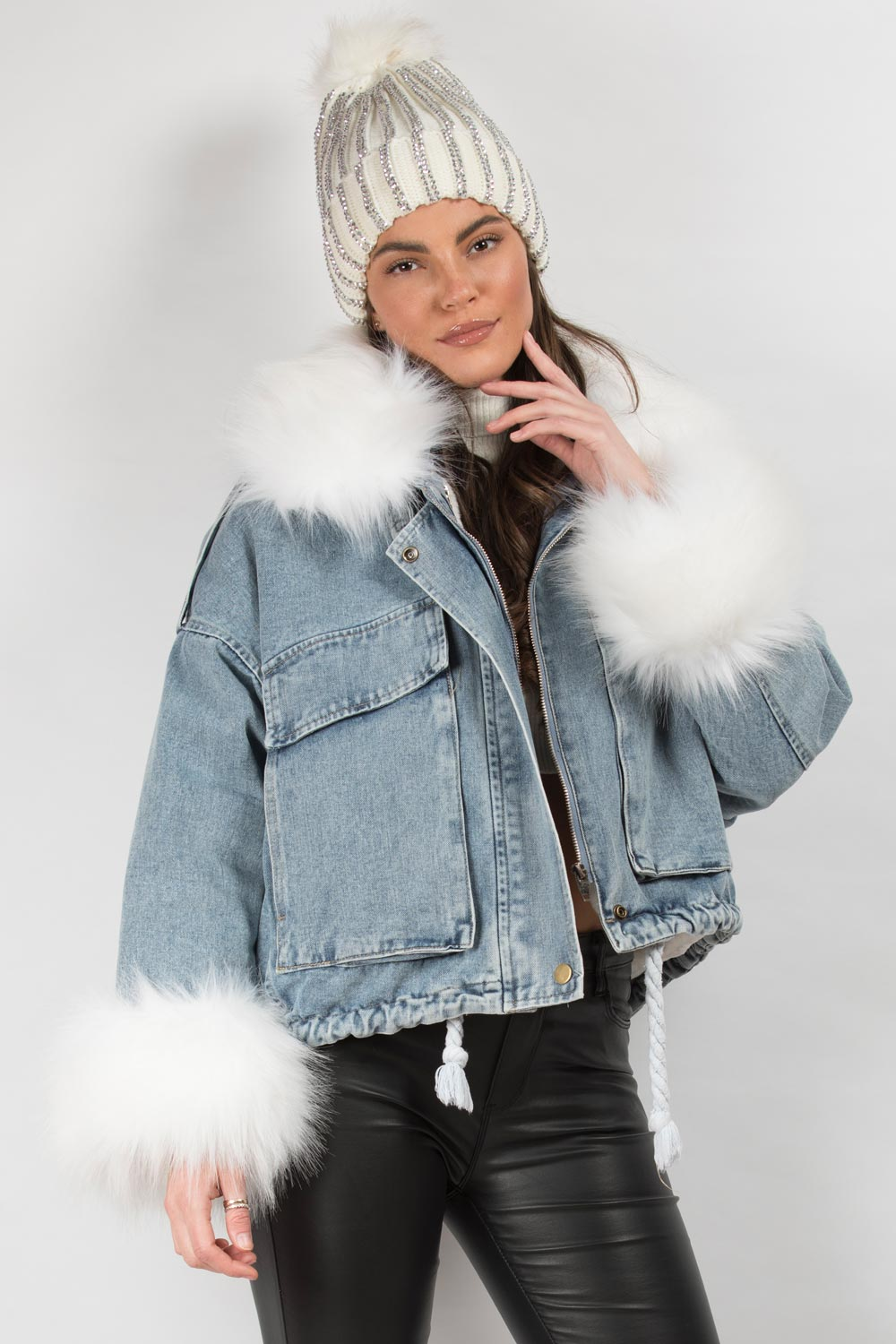white faux fur denim oversized jacket