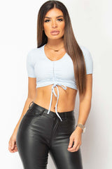 ruched front crop top blue