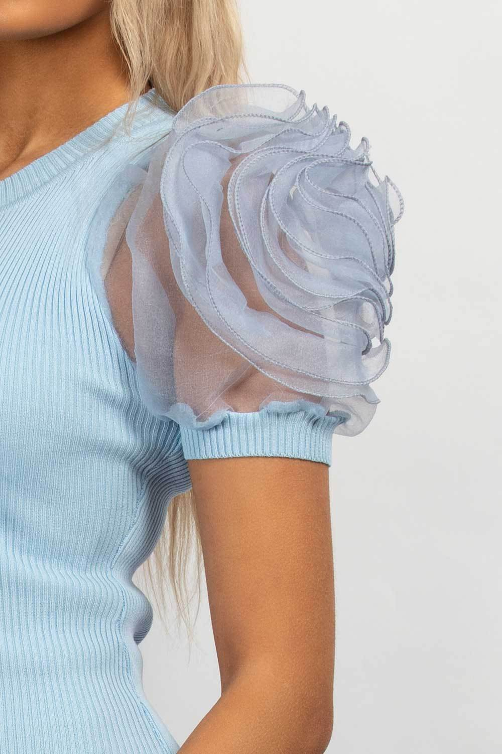 tulle rose sleeve top styledup fashion