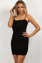black ruched mini bodycon dress
