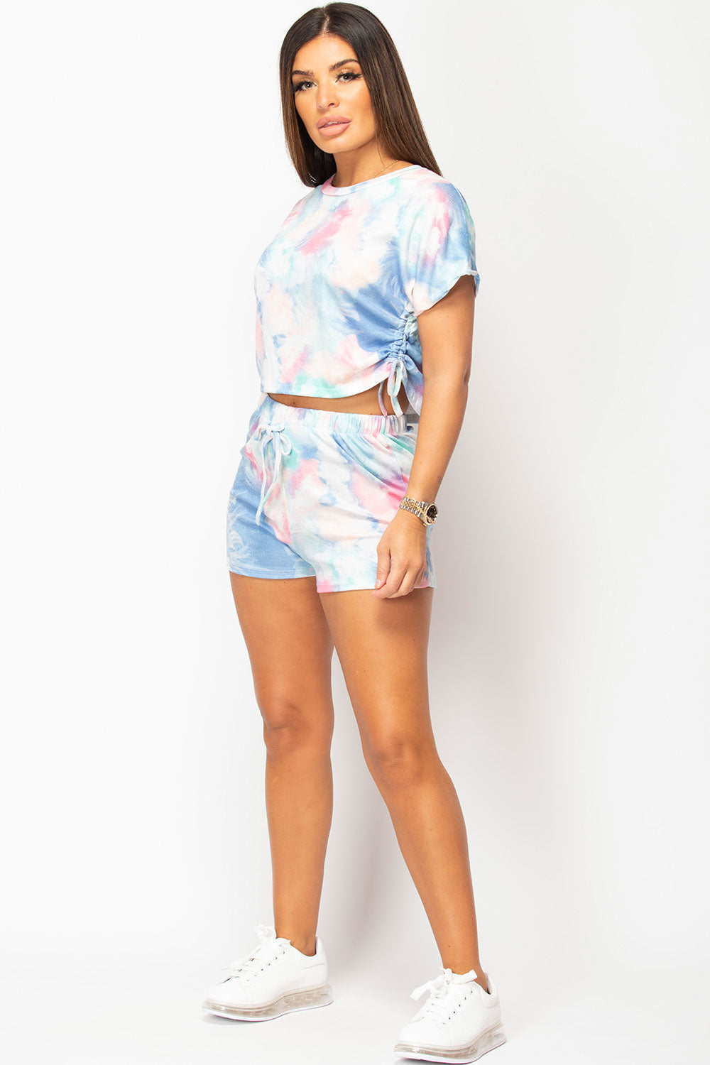 tie dye shorts and crop top set