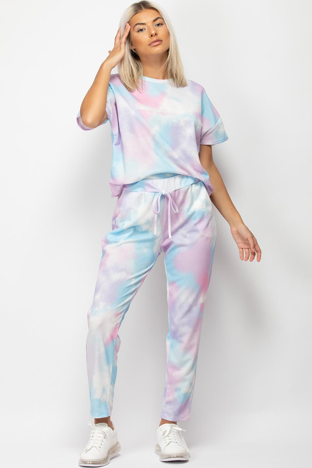 short sleeve tie dye loungewear set