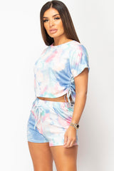blue tie dye shorts and top set