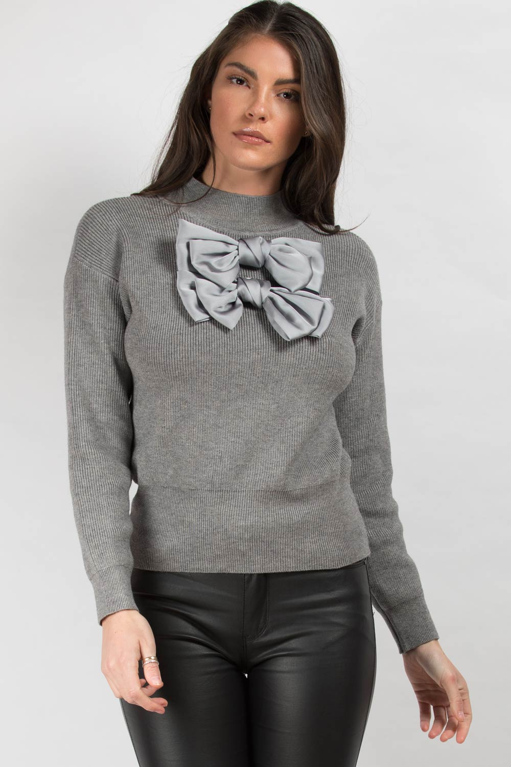 ribbed jumper grey womens