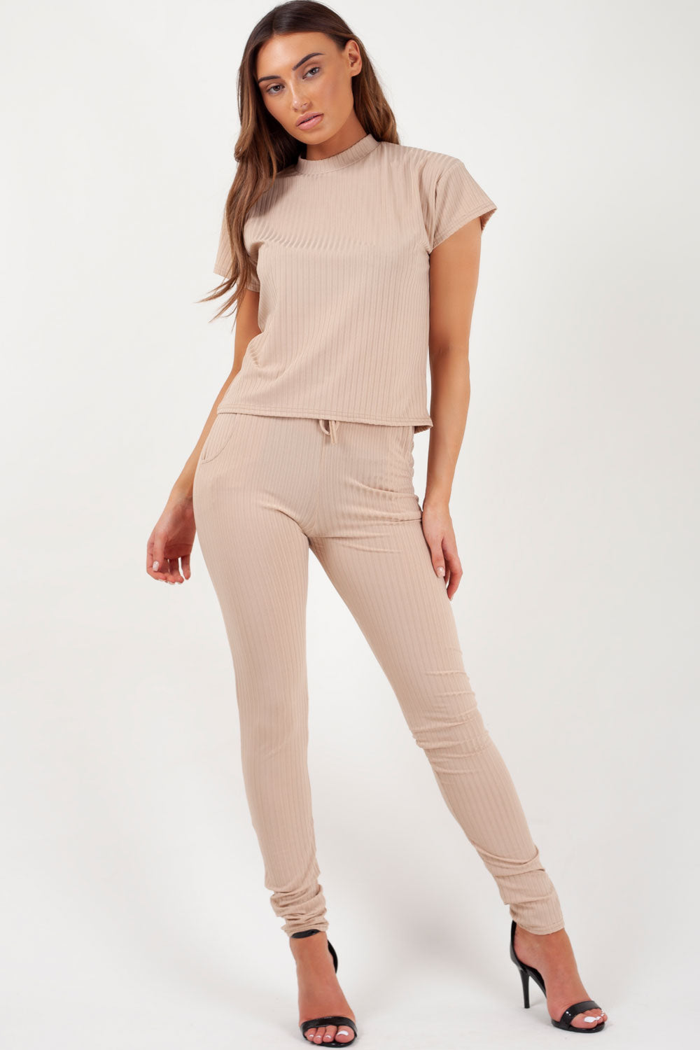 Ribbed Boxy Loungewear Set Camel Styledup Co Uk