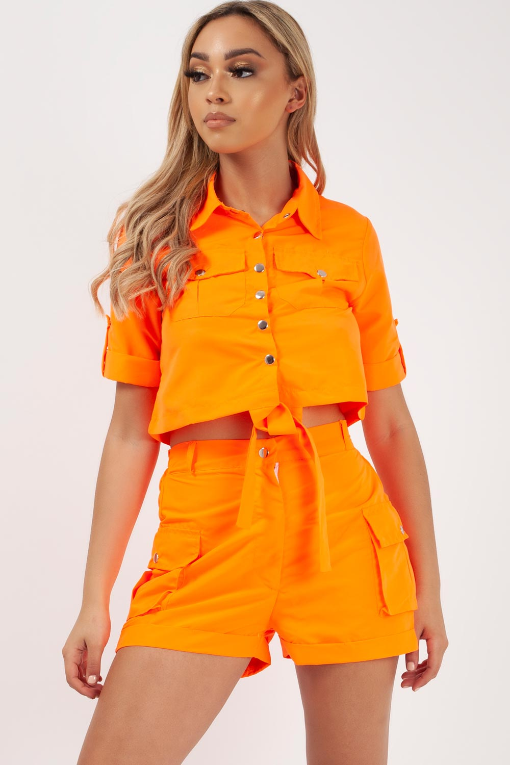 neon orange utility crop top and shorts set
