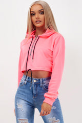 neon pink oversized crop hoodie styledup fashion