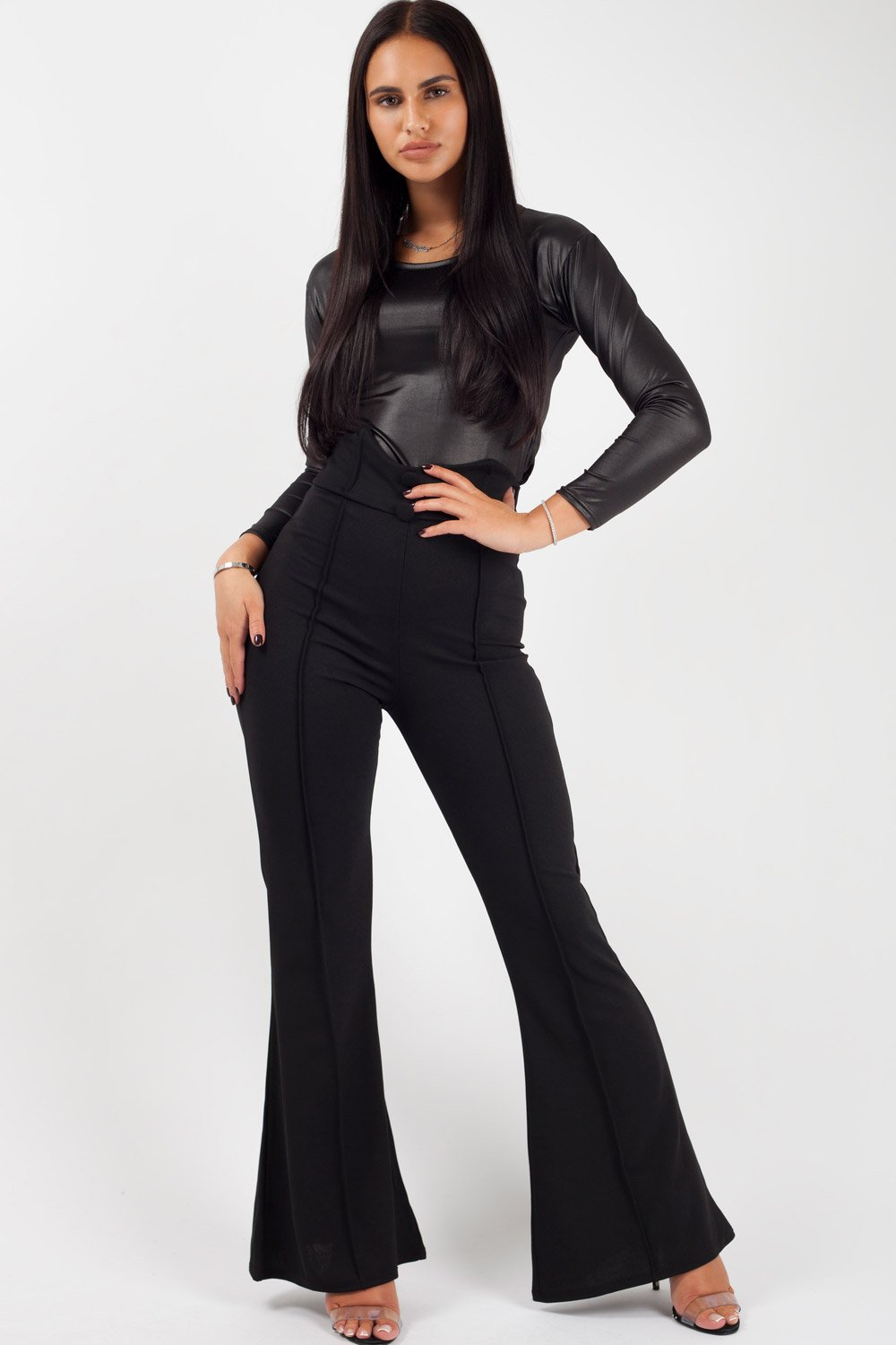 black wide leg trousers womens