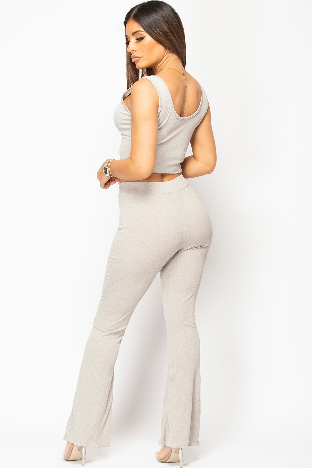 grey crop top and wide leg trousers set