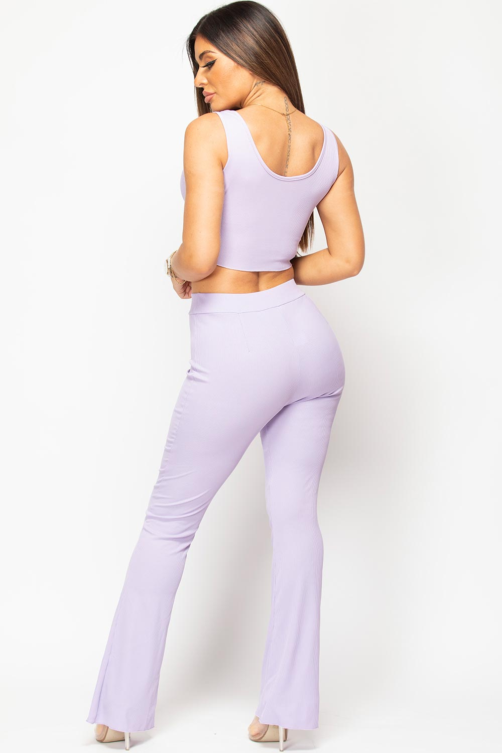 purple wide leg ribbed trousers and crop top set