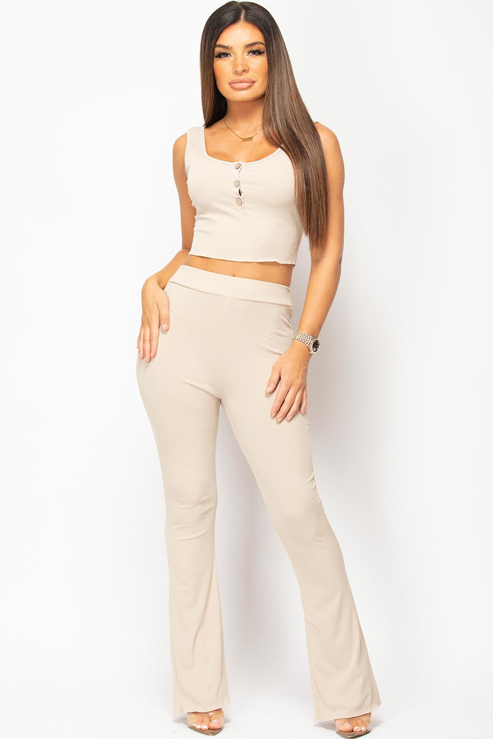 stone button front crop top and wide leg trousers set