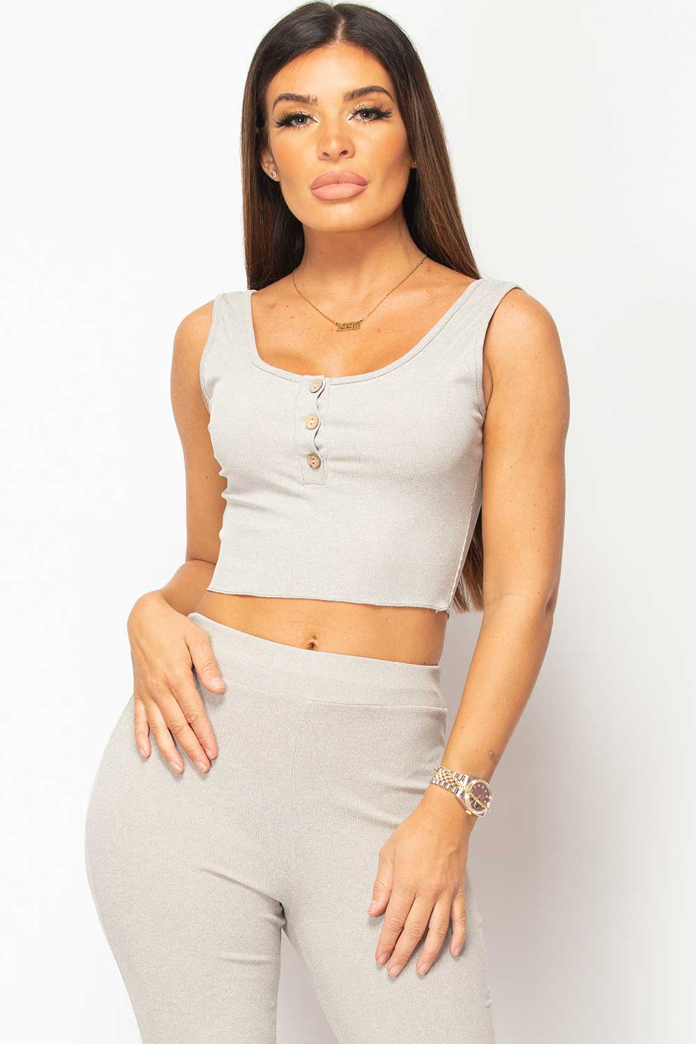 grey ribbed button front crop top