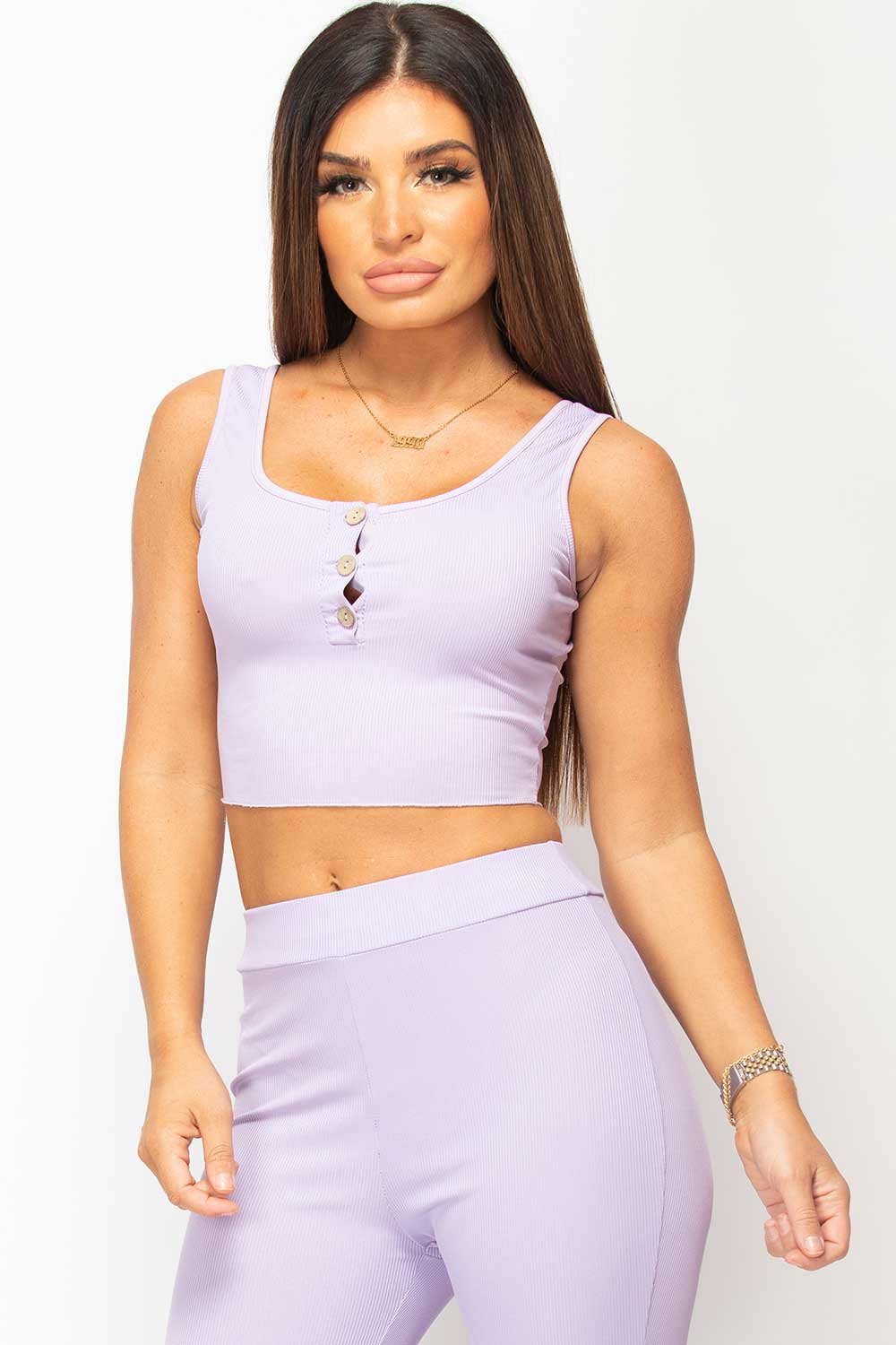purple ribbed button front crop top