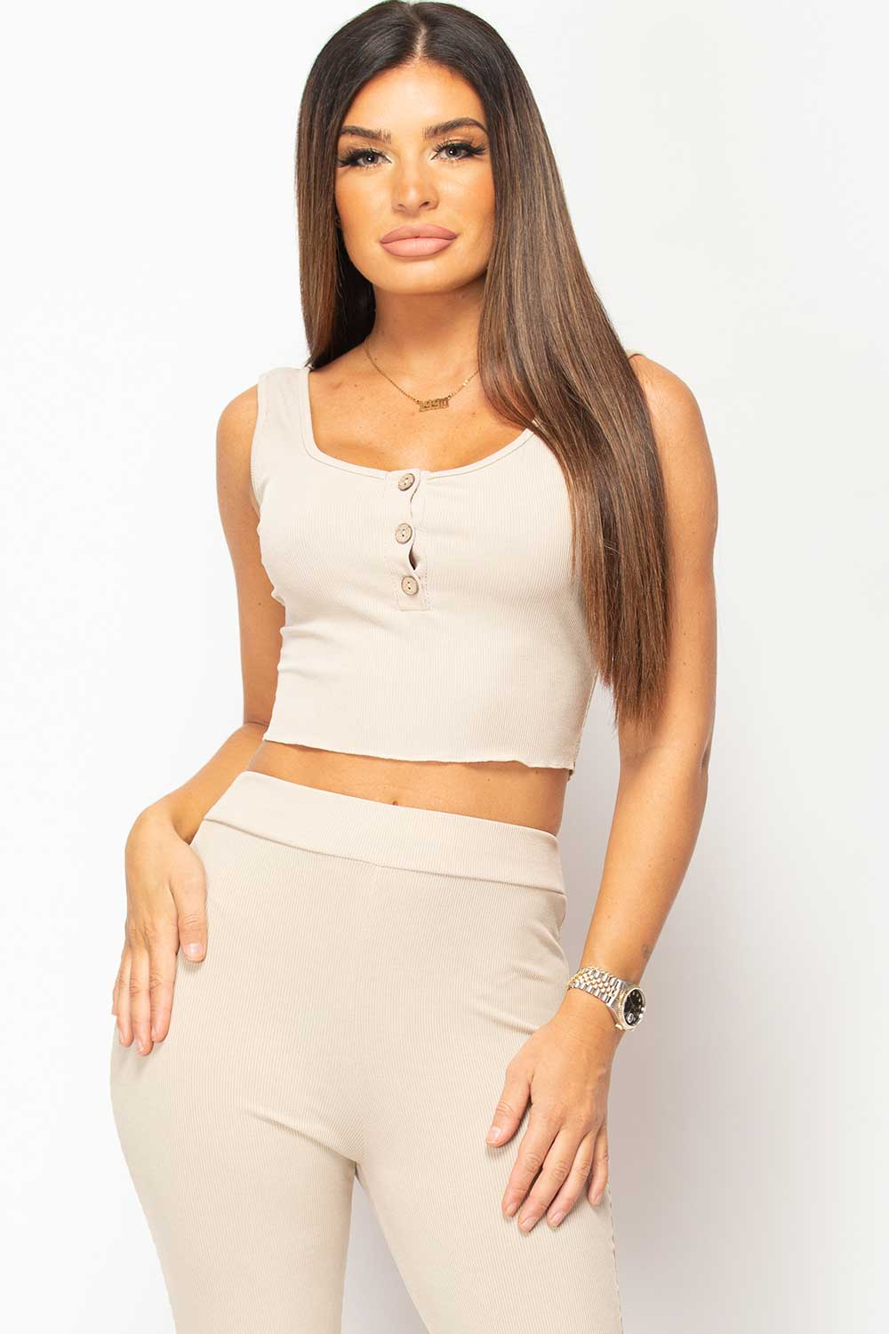 button front crop top set