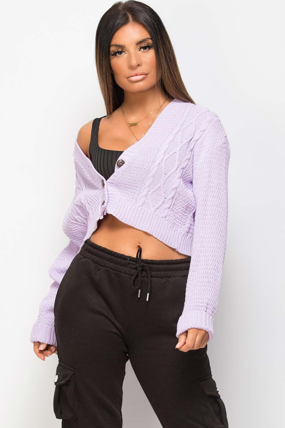 lilac crop cardigan with buttons