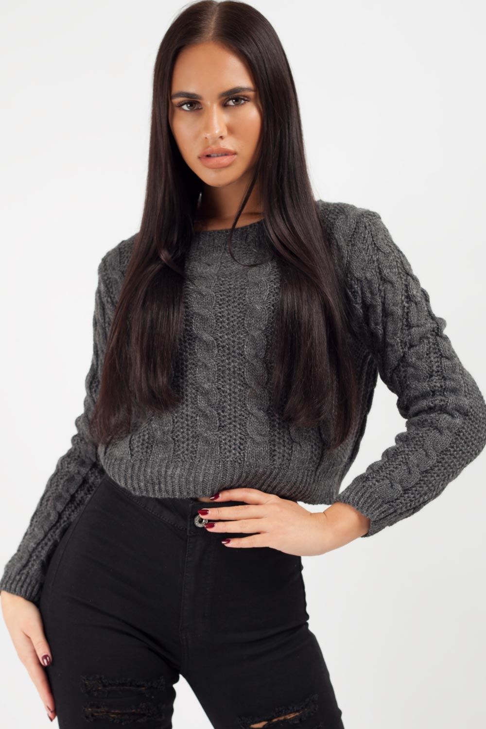 grey cropped jumper womens