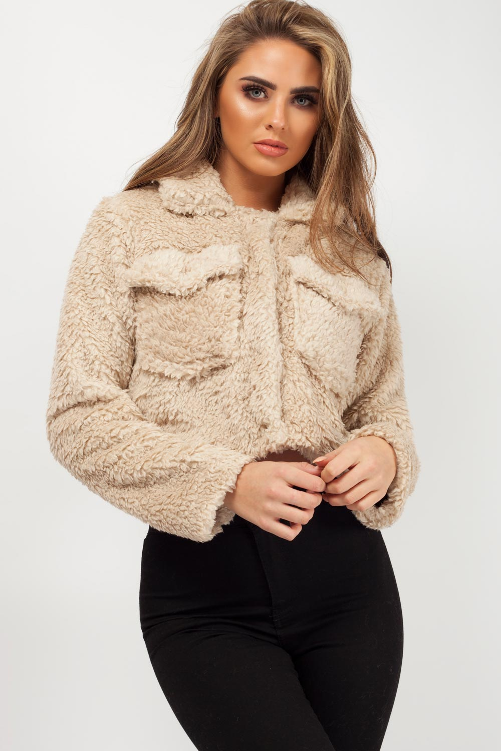 crop teddy bear coat stone