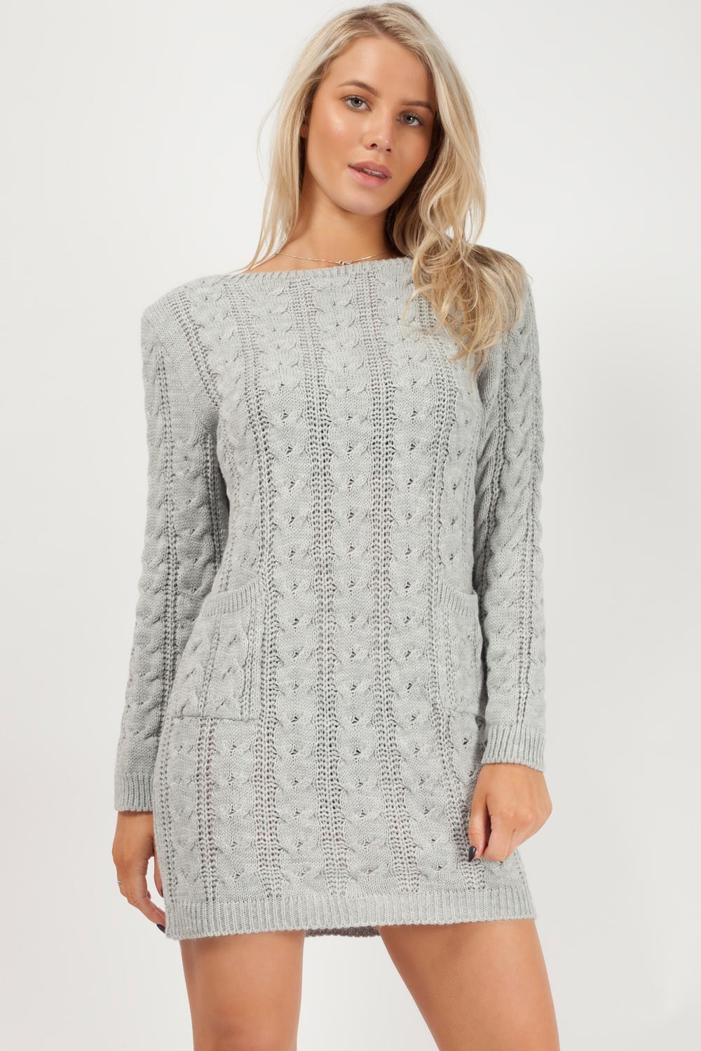 grey jumper cable knit womens