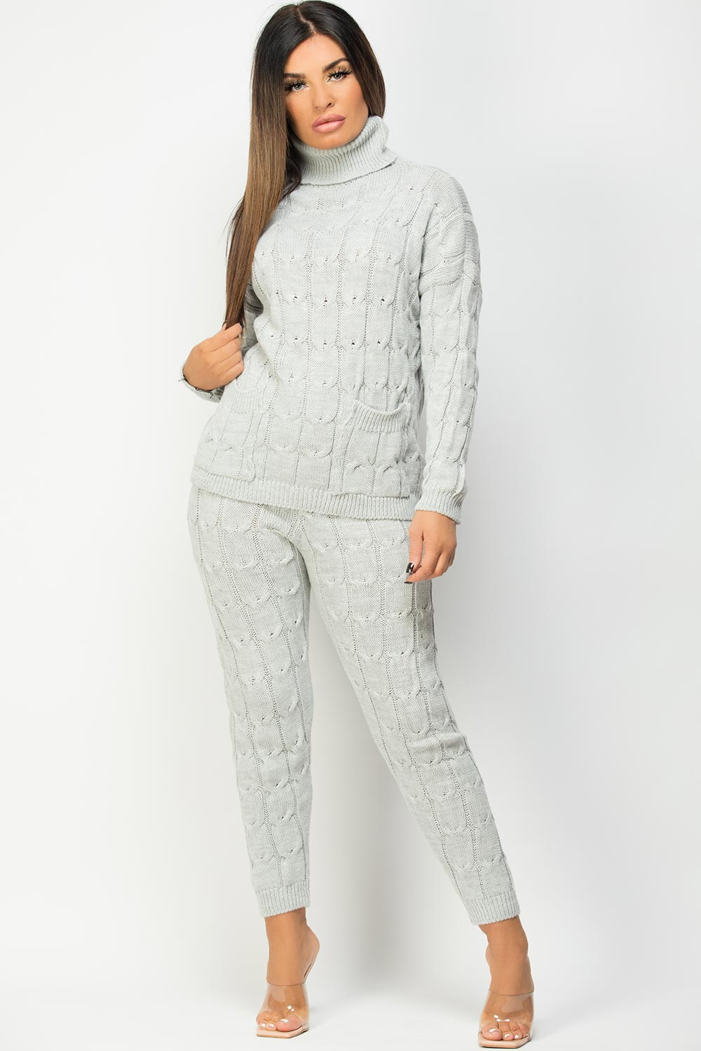loungewear set with roll neck grey