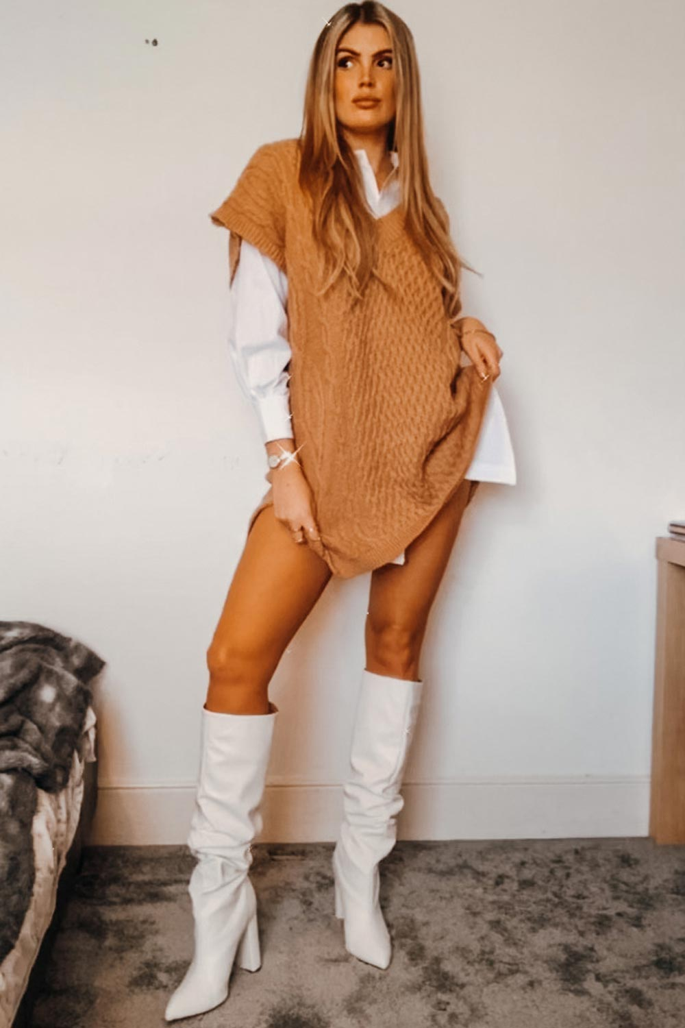 oversized jumper and shirt dress