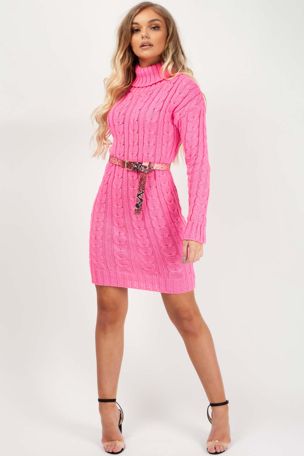 pink roll neck jumper dress