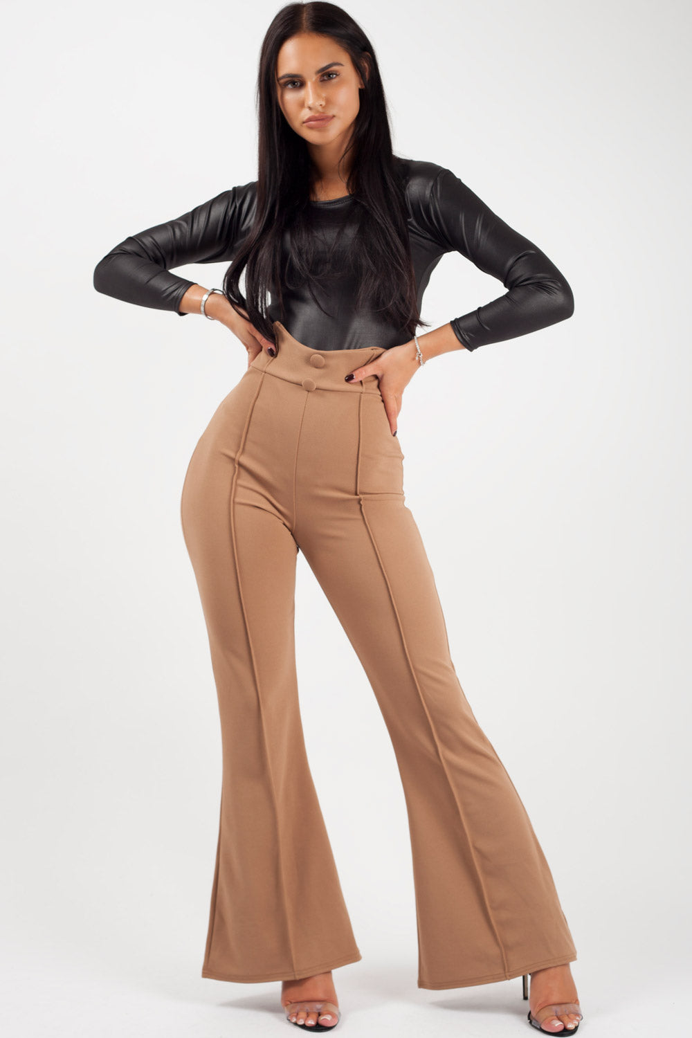 high waist wide leg trousers camel