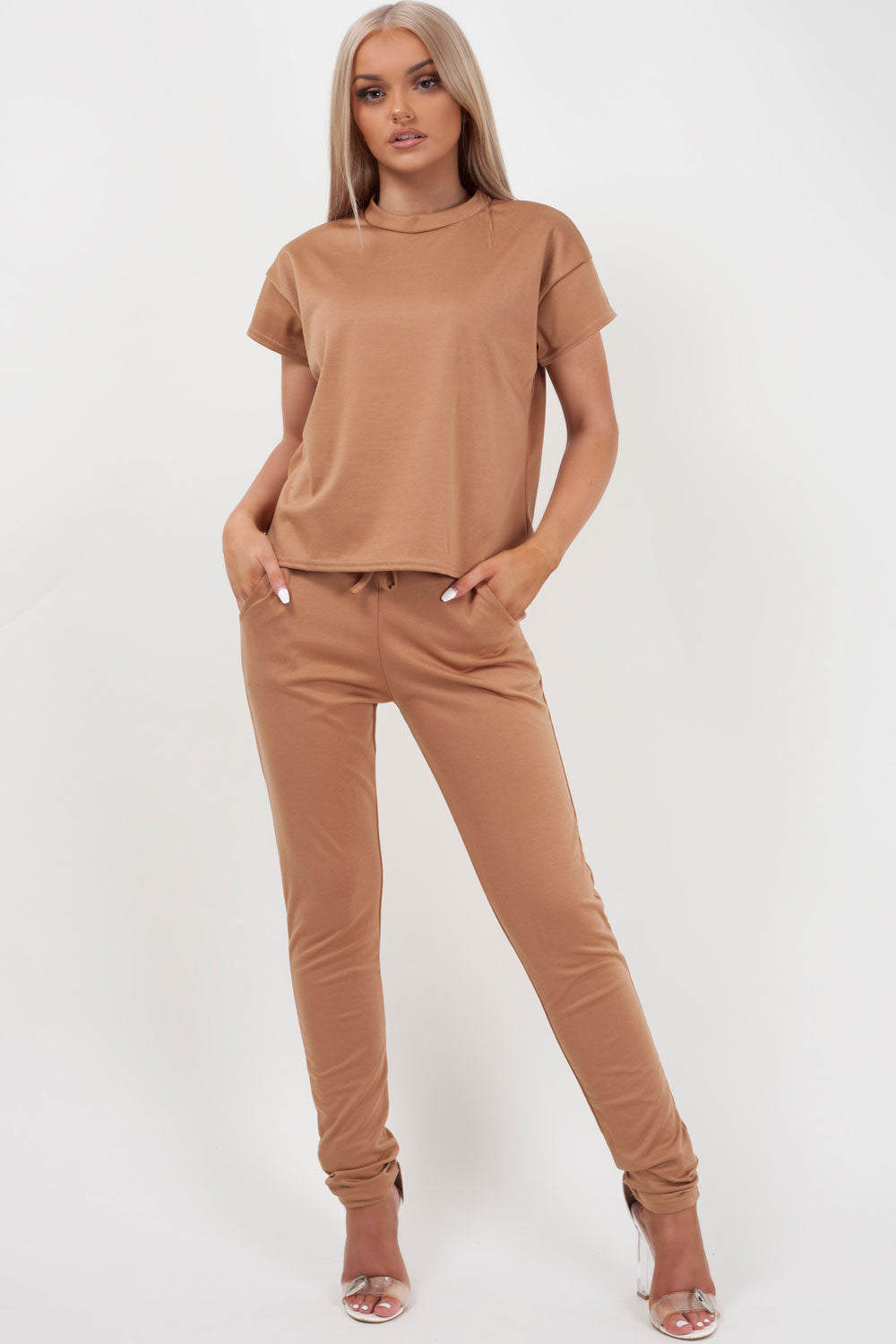 boxy loungewear set camel