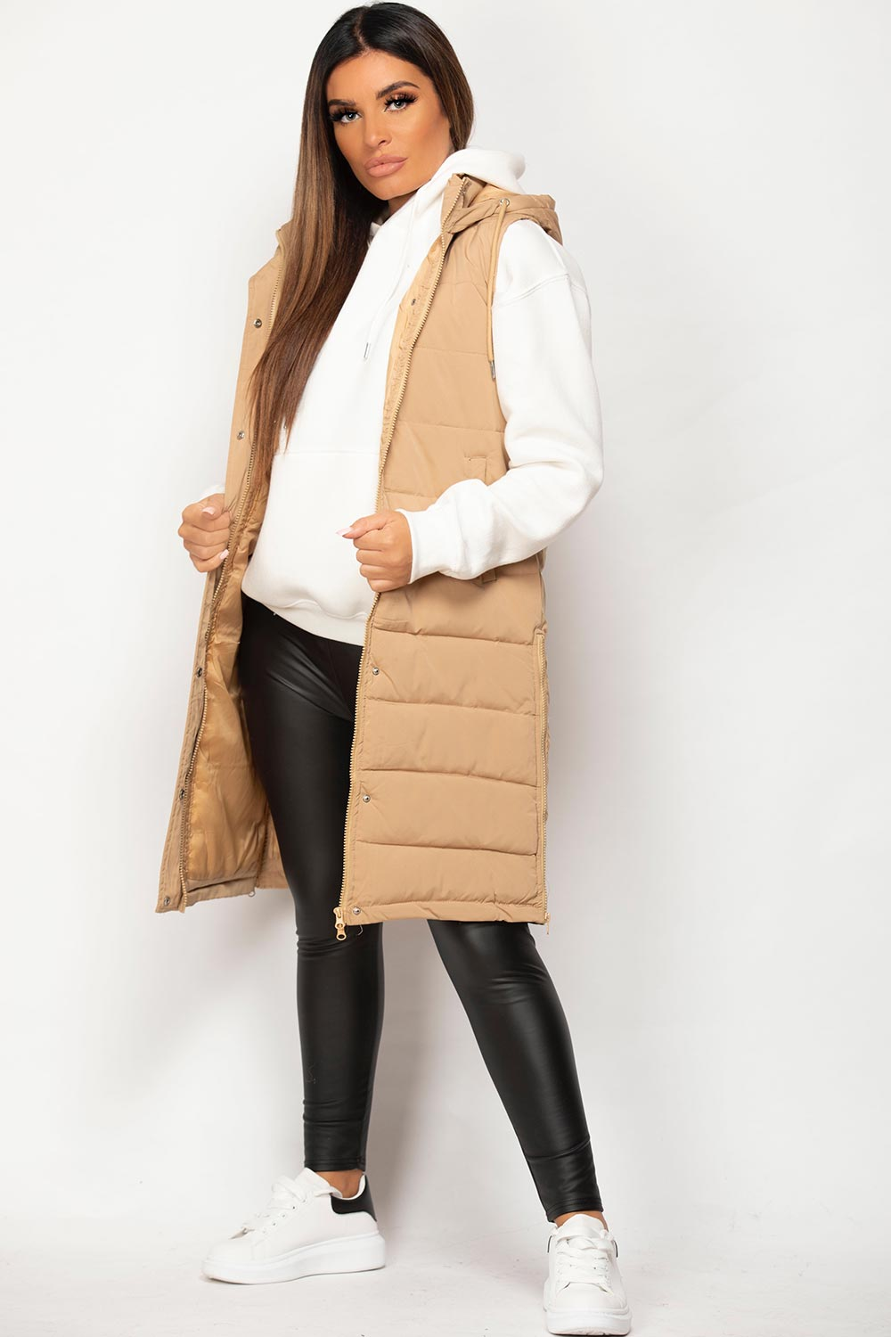 padded puffer hooded gilet body warmer  camel