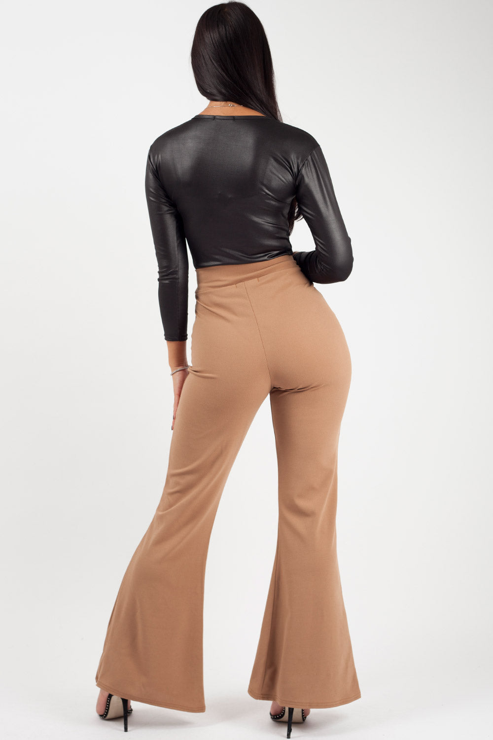 high waist flare leg trousers camel