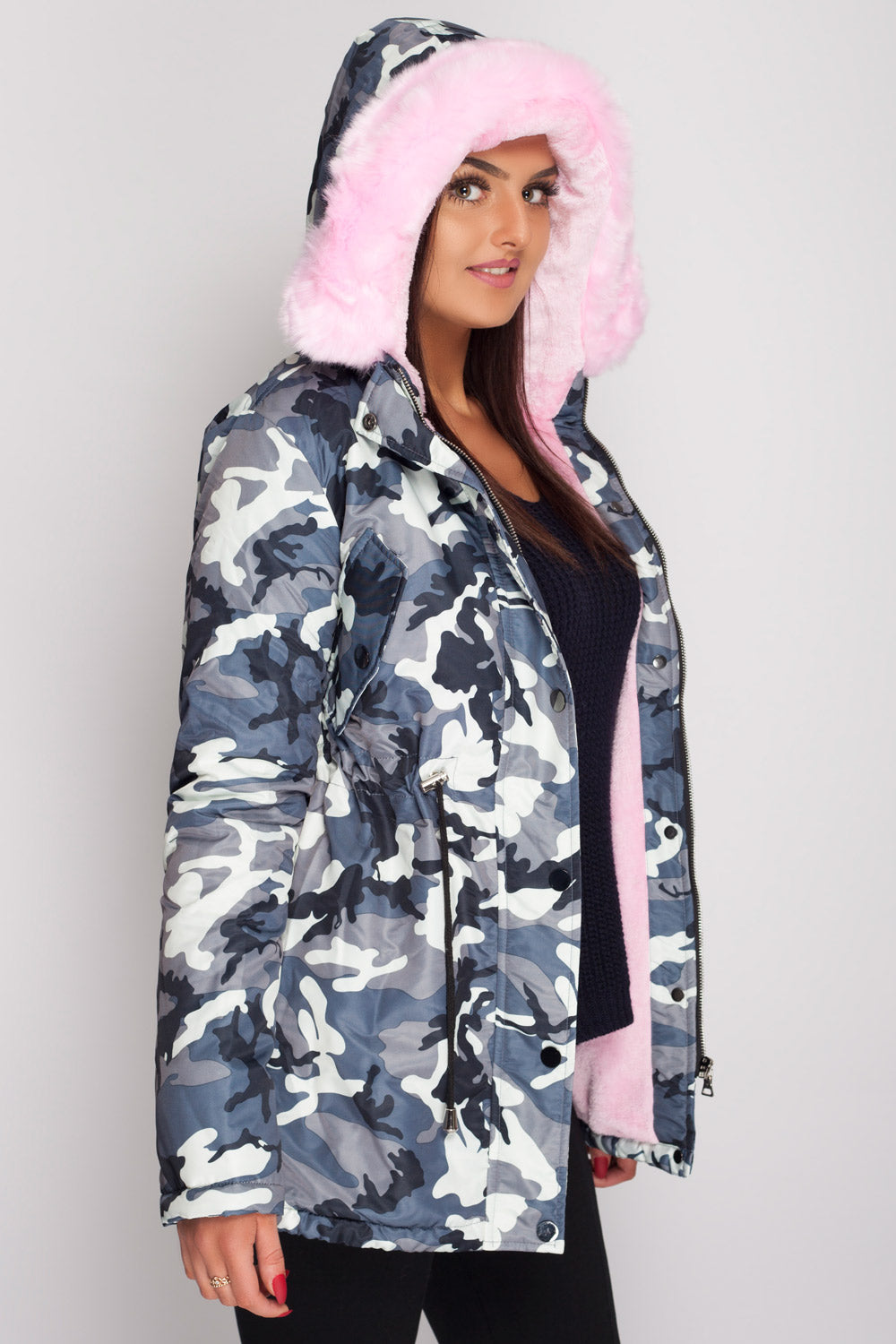 camo parka with faux-fur hood & lining