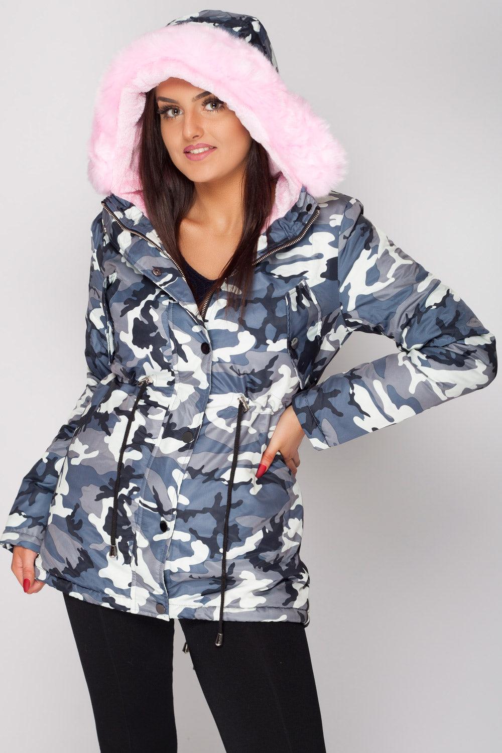 new products huge inventory discount collection Pink Camo Faux Fur Hood Parka Coat