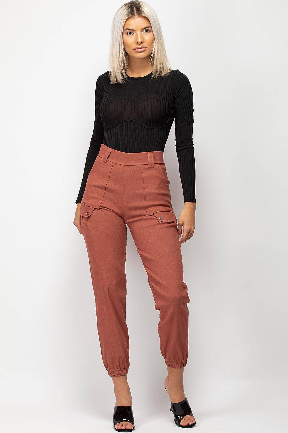 High Waisted Cargo Trousers Rust