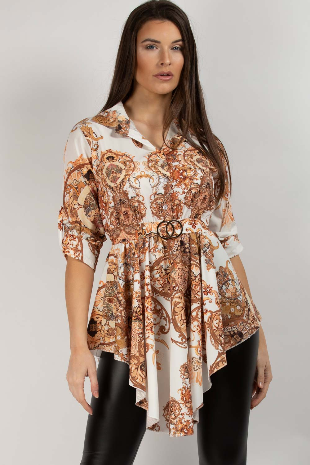 White Scarf Print CC Buckle Belted Shirt