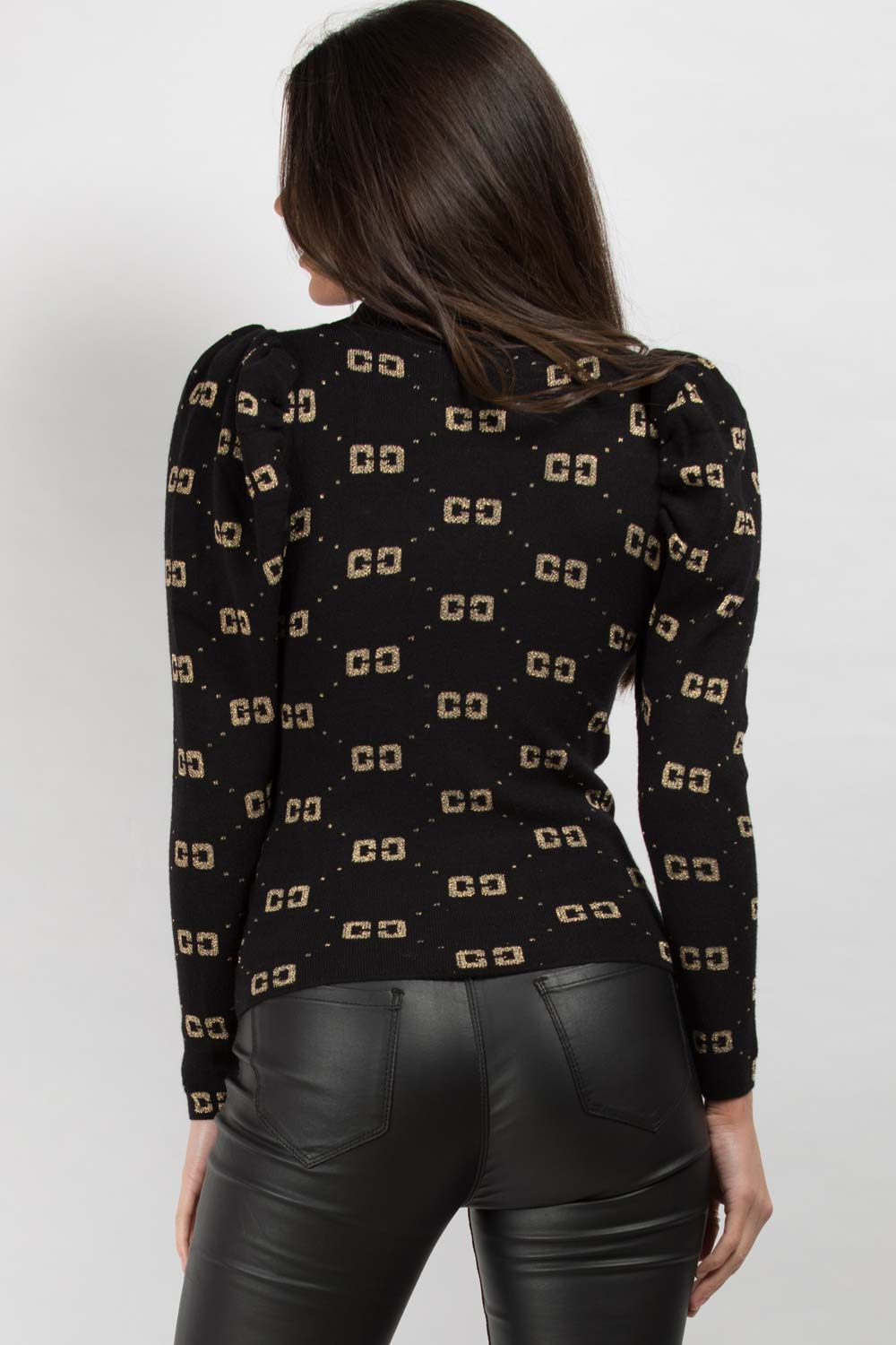 black cc print long sleeve jumper