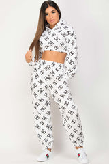 white joggers and crop hoodie loungewear set uk