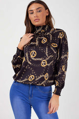 gold chain print top long sleeves