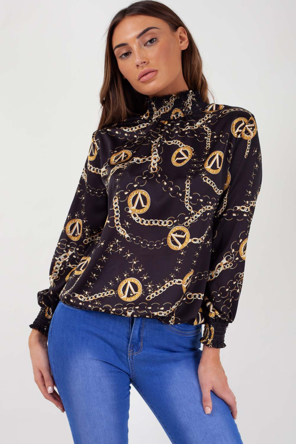 chain print top black