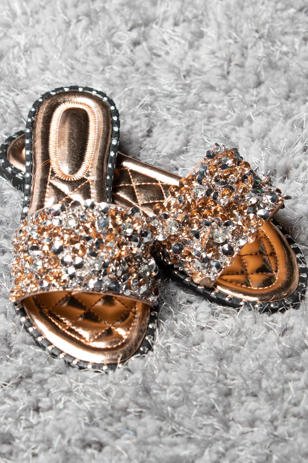 rose gold diamante sliders