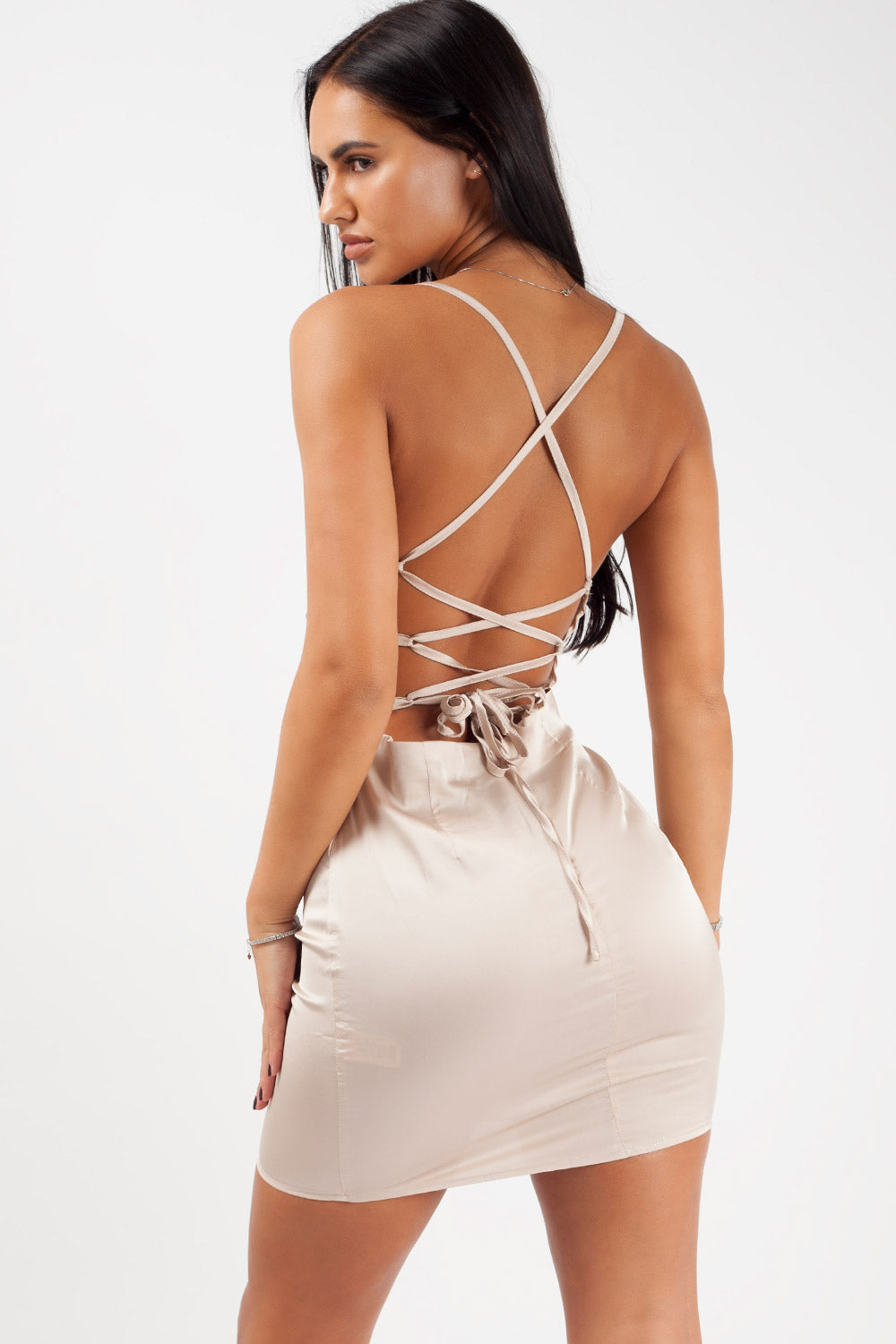 cross back satin cowl neck dress