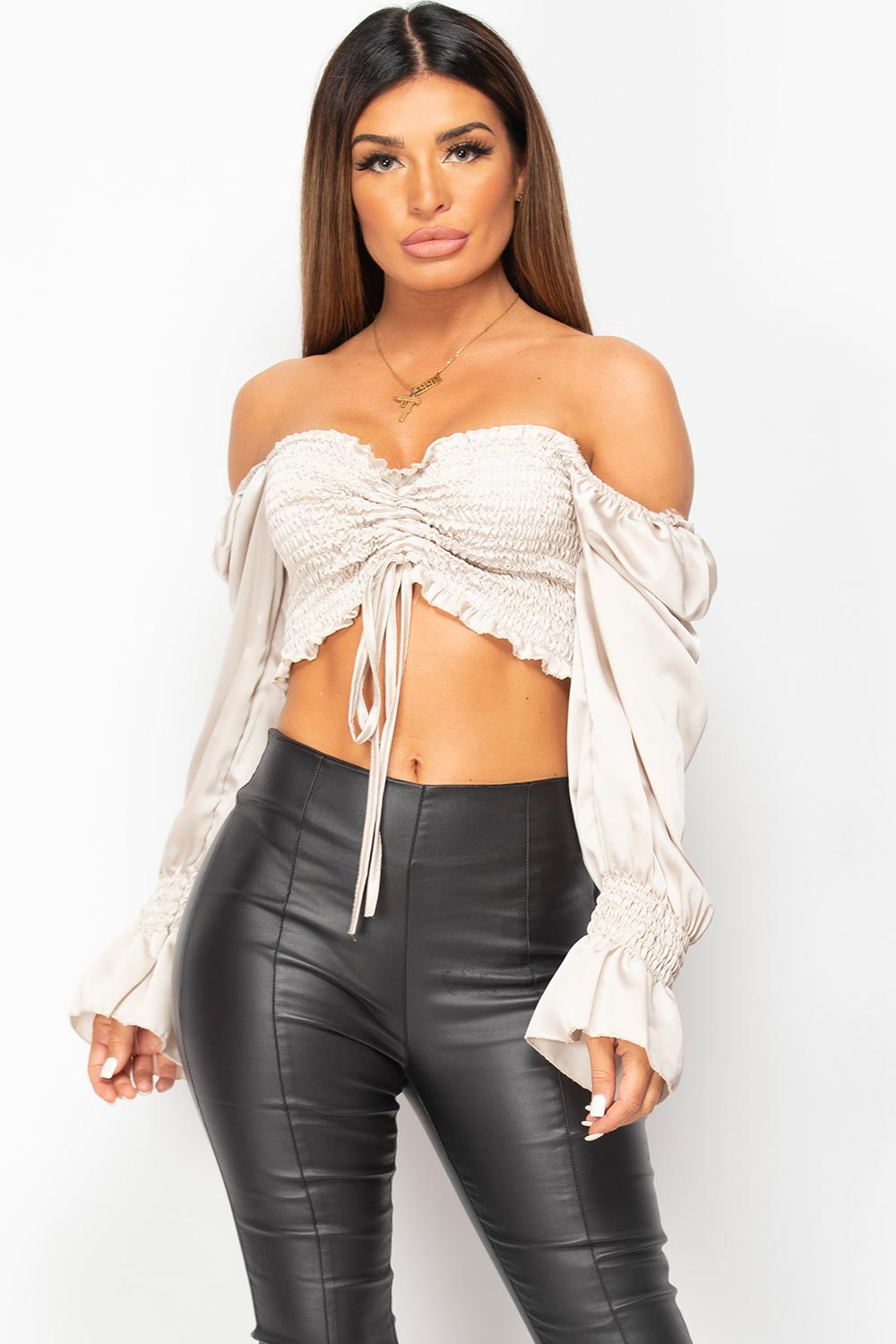 satin ruched front crop top