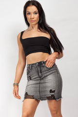 charcoal grey denim skirt