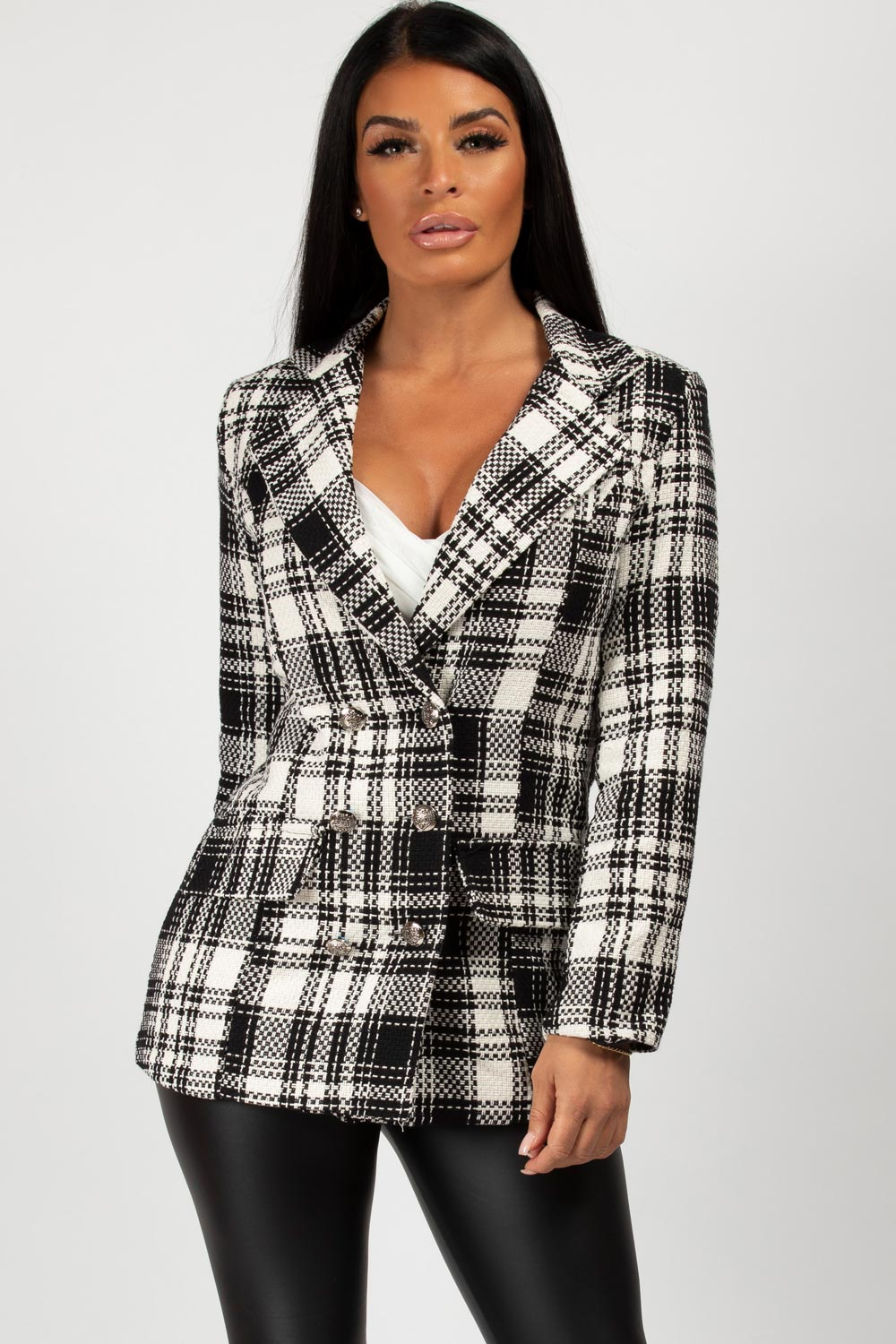 checkered double breasted blazer womens