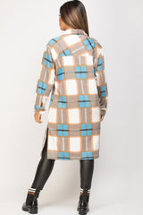 blue brown check long shacket womens