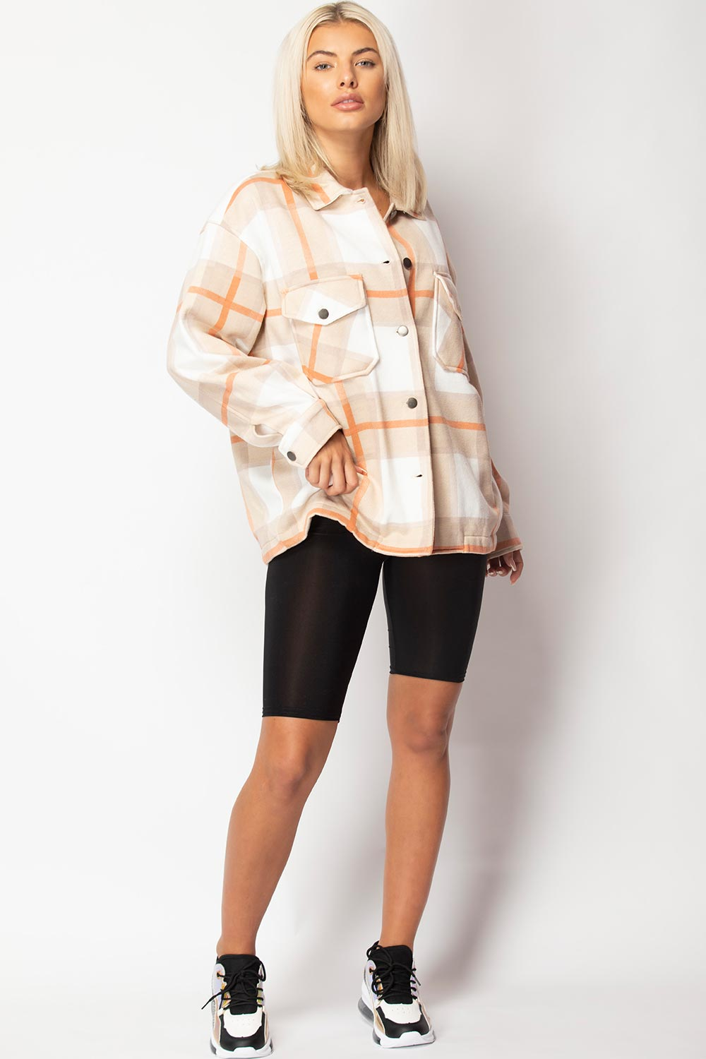 womens beige check shacket