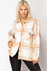 oversized check shacket beige womens