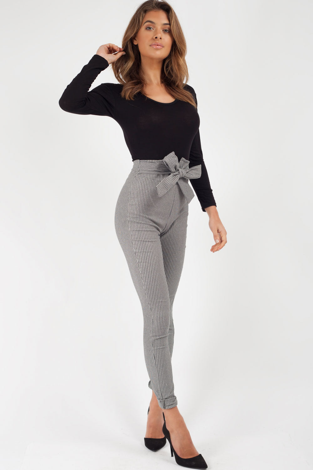 high waisted checked trousers womens