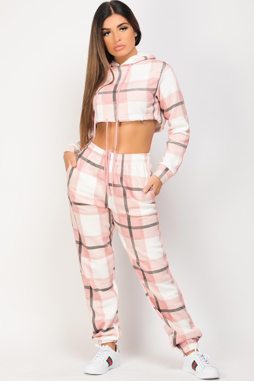 pink check loungewear set