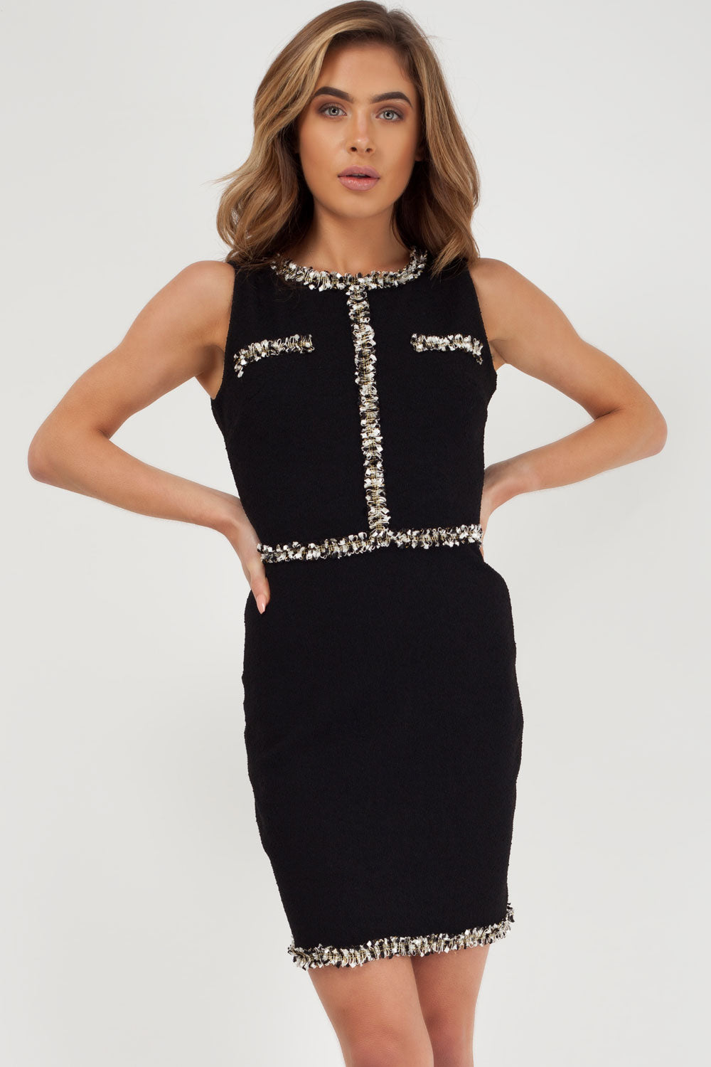 chanel inspired dress black styledup fashion